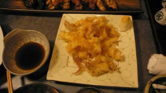 イカの活き作りの残りを天ぷらに